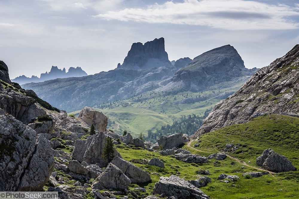 Dolomites mountains, looking south from Passo di Valparola, Veneto region, Italy, Europe. The Dolomites are part of the Southern Limestone Alps. UNESCO honored the Dolomites as a natural World Heritage Site in 2009.