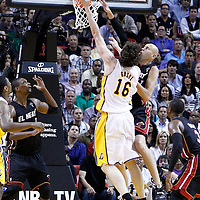 10 March 2011: Los Angeles Lakers power forward Pau Gasol (16) goes for the layup over Miami Heat center Zydrunas Ilgauskas (11) during the Miami Heat 94-88 victory over the Los Angeles Lakers at the AmericanAirlines Arena, Miami, Florida, USA.