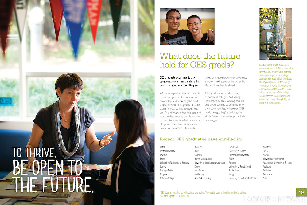 Viewbook for Oregon Episcopal School. Design by Mindpower, Inc. (www.mindpowerinc.com)