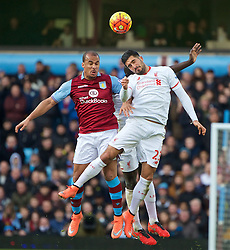 BIRMINGHAM, ENGLAND - Sunday, February 14, 2016: Liverpool's Emre Can in action against Aston Villa's Gabriel Agbonlahor during the Premier League match at Villa Park. (Pic by David Rawcliffe/Propaganda)