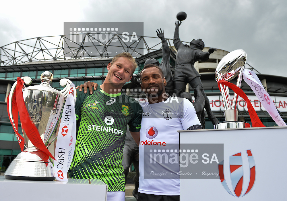 LONDON, ENGLAND - MAY 18: Philip Snyman (South Africa) and Osea Kolinisau (Fiji) during the HSBC London Sevens Captains Photocall session at Twickenham Stadium on May 18, 2016 in London, England. (Photo by Roger Sedres/Gallo Images)