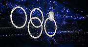 07.02.2014. Sochi, Russia. Opening Ceremonies for the XXII Olympic Winter Games Sochi 2014. FISHT Stadium, Adler/Sochi, Russia Equipment Breakdown showing four instead of five Olympic Rings during the Opening Ceremony
