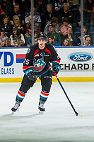 KELOWNA, CANADA - OCTOBER 3: Kyle Crosbie #25 of the Kelowna Rockets skates against the Vancouver Giants  on October 3, 2018 at Prospera Place in Kelowna, British Columbia, Canada.  (Photo by Marissa Baecker/Shoot the Breeze)  *** Local Caption ***