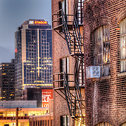 View of downtown Kansas City MO from a Crossroads District parking garage looking through an alley.