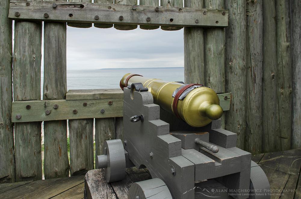 Cannon aimed at Straits of Mackinac. Colonial Michilimackinac, Mackinaw City Michigan.