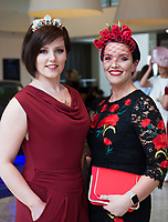 Repro free: Sarah King and Suzanne Burke at The Irish Fashion Innovation Awards 2017 at the Radisson Blu Hotel. Photo:Andrew Downes, XPOSURE<br /> <br /> NOTE: <br /> The Irish Fashion Innovation Awards presented by Goldenegg Productions is a contest for fashion designers and fashion students, showcasing the highest expression of creativity from the most innovative designers in Ireland. Recognised as a launching pad for Ireland&rsquo;s most talented, the event attracts entries from promising fashion creatives competing for the prestigious Awards. The Irish Fashion innovation Awards continually aspire to showcase the most cutting-edge designers, giving up-and-coming designers an invaluable connection to the public. The brainchild of Patricia McCrossan of Goldenegg Productions, the Awards give visibility, support and a voice to design talent throughout Ireland, offering an unrivalled opportunity for their work to be shown to a jury made up of fashion design experts. &ldquo;The Goldenegg Irish Fashion Innovation Awards are unique to Ireland. They are seen as providing a rite of passage for many of our top designers as they make their way up the rungs of the fashion ladder. We have a fantastic track record to date with some of Ireland&rsquo;s best-known designers making their national debut at the Goldenegg Irish Fashion Innovation Awards,&rdquo; explains Patricia. Previous winners include Carla Johnson, Natalie B. Coleman, Una Burke, Niamh O&rsquo;Neill, Martha Lynn, Blaithin Ennis and Rebecca Marsden.