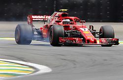 """November 10, 2018 - SãO Paulo, Brazil - SÃO PAULO, SP - 10.11.2018: GRANDE PRÊMIO DO BRASIL DE FÃ""""RMULA 1 2018 - Kimi Räikkönen (RAIKKONEN), FIN, Team Scuderia Ferrari during the official qualifying training for the 2018 Brazilian Formula 1 Grand Prix, held at the Autodromo de Interlagos, in São Paulo, SP. (Credit Image: © Rodolfo Buhrer/Fotoarena via ZUMA Press)"""