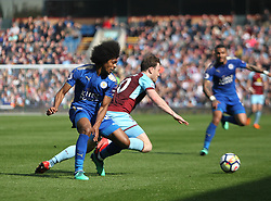 Hamza Choudhury of Leicester City (L) and Ashley Barnes of Burnley in action - Mandatory by-line: Jack Phillips/JMP - 14/04/2018 - FOOTBALL - Turf Moor - Burnley, England - Burnley v Leicester City - English Premier League