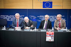 A Belarussian human rights activist Ales Bialiatski (also transliterated as Ales Bialacki, Ales Byalyatski, Alies Bialiacki and Alex Belyatsky) (2L) gives the press conference during the second day of plenary session at the European Parliament headquarters in Strasbourg, France on 02.07.2014 Bialiatski spent 4 years in the Belarusian prison (lager) and was released on 21 of June 2014. EXPA Pictures © 2014, PhotoCredit: EXPA/ Photoshot/ Wiktor Dabkowski<br /> <br /> *****ATTENTION - for AUT, SLO, CRO, SRB, BIH, MAZ only*****