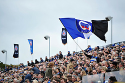 A Bath supporter in the crowd waves a big flag - Mandatory byline: Patrick Khachfe/JMP - 07966 386802 - 17/10/2015 - RUGBY UNION - The Recreation Ground - Bath, England - Bath Rugby v Exeter Chiefs - Aviva Premiership.