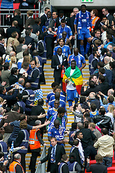 LONDON, ENGLAND - Saturday, May 17, 2008: Portsmouth's players walk back down the Wembley steps after winning the FA Cup, beating Cardiff City 1-0, during the FA Cup Final at Wembley Stadium. (Photo by Chris Ratcliffe/Propaganda)