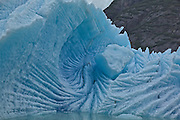 Large Glacier Blue Iceberg in Tracy Arm Fjord Wilderness Area in Alaska dominates the photograph. The calved section looks like an intricate sculpture.