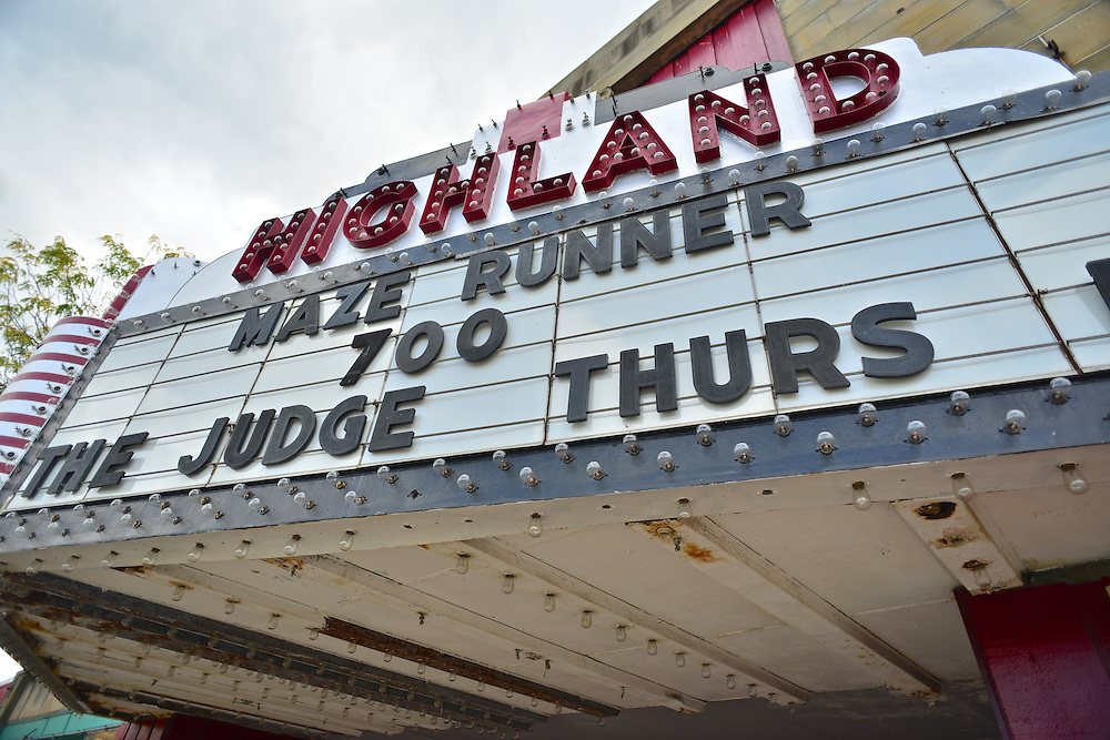 Entrance sign display for the Highland Theatre.