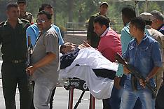 SEP 27 2014 Hosni Mubarak carried to hospital helicopter