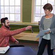 "Christopher Reiling as Seth and Christine Penney as Genifer in a rehearsal for Kent Stephen's ""Love and Faith and Other Dirty Words"""