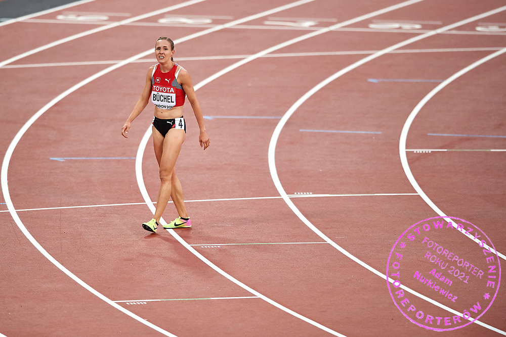 Great Britain, London - 2017 August 11: Selina Buchel from Switzerland from Norway competes in women&rsquo;s 800 meters semi final during IAAF World Championships London 2017 Day 8 at London Stadium on August 11, 2017 in London, Great Britain.<br /> <br /> Mandatory credit:<br /> Photo by &copy; Adam Nurkiewicz<br /> <br /> Adam Nurkiewicz declares that he has no rights to the image of people at the photographs of his authorship.<br /> <br /> Picture also available in RAW (NEF) or TIFF format on special request.<br /> <br /> Any editorial, commercial or promotional use requires written permission from the author of image.