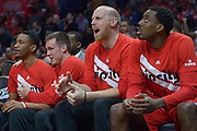 The Portland bench cheers in the 4th quarter. The Portland Trail Blazers defeated the Los Angeles Clippers 108-98 in game 5 of the NBA Western Conference Playoffs first round. Los Angeles, CA.  April 27, 2016. (Photo by John McCoy/Southern California News Group)