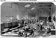 General view of kitchen at Richie & McCall's Cannery, Houndsditch, London. Wood engraving, 1852