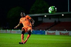LEYLAND, ENGLAND - Friday, September 1, 2017: Liverpool's Bobby Adekanye scores the third penalty as his side win the shoot-out 5-4 during the Lancashire Senior Cup Final match between Fleetwood Town and Liverpool Under-23's at the County Ground. (Pic by Propaganda)
