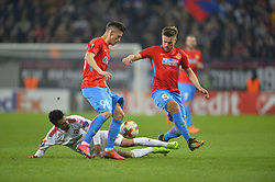 November 2, 2017 - Bucharest, Romania - Hapoel's Isaac Cuenca vs FCSB's Mihai Pintilii and Dennis Man during the UEFA Europa League group G football match Steaua Bucharest FCSB v Hapoel Beer-Sheva FC in Bucharest, Romania on November 2, 2017. (Credit Image: © Alex Nicodim/NurPhoto via ZUMA Press)