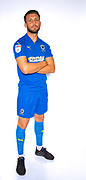 AFC Wimbledon defender Luke O'Neill (2) during the official team photocall for AFC Wimbledon at the Cherry Red Records Stadium, Kingston, England on 8 August 2019.