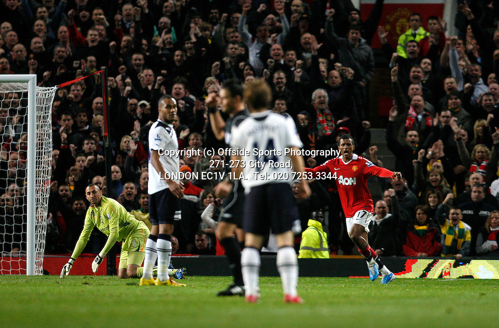 30/10/2010 Manchester United v Tottenham Hotspur, Barclays Premier League.<br /> Nani celebrates scoring Man Utd 2nd goal past Heurelha Gomes as Referee Marl Clattenburg gives the goal<br /> Photo: Mark Robinson.