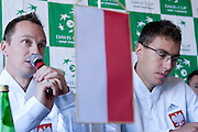 (L) Radoslaw Szymanik - captain national team &amp; (R) Jerzy Janowicz of Poland while press conference three days before the BNP Paribas Davis Cup 2014 between Poland and Croatia at Torwar Hall in Warsaw on April 1, 2014.<br /> <br /> Poland, Warsaw, April 1, 2014<br /> <br /> Picture also available in RAW (NEF) or TIFF format on special request.<br /> <br /> For editorial use only. Any commercial or promotional use requires permission.<br /> <br /> Mandatory credit:<br /> Photo by &copy; Adam Nurkiewicz / Mediasport
