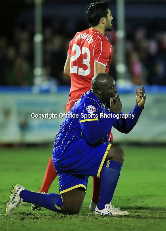 5 January 2015 - The FA Cup 3rd Round - AFC Wimbledon v Liverpool - Adebayo Akinfenwa of AFC Wimbledon reacts to missing a chance - Photo: Marc Atkins / Offside.