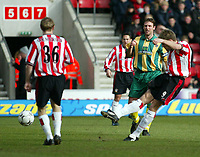 Photo: Scott Heavey<br />Southampton V West Bromwich Albion. 01/03/03.<br />James Beattie strikes to open the scoring during this premiership clash at St. Marys stadium, home of Southampton.