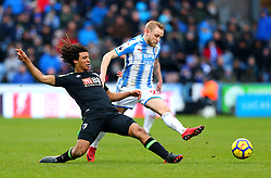 Nathan Ake of Bournemouth tackles Alex Pritchard of Huddersfield Town - Mandatory by-line: Robbie Stephenson/JMP - 11/02/2018 - FOOTBALL - The John Smith's Stadium - Huddersfield, England - Huddersfield Town v Bournemouth - Premier League