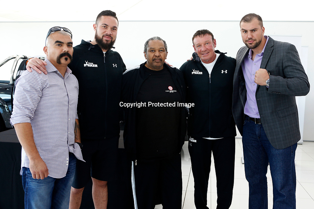 (L to R) Lionel Lara, Joseph Parker, Trainer John Arthur, Trainer Kevin Barry and Razvan Cojanu during a press conference ahead of the WBO world heavyweight championship boxing title fight scheduled for May 6, Parker v Cojanu in Auckland. 26 April 2017, Copyright Image: William Booth / www.photosport.nz