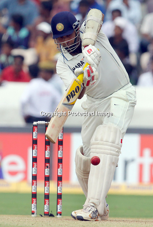 Indian batsman VVS Laxman Plays a shot against New Zealand during the 3rd day of the 2nd test match India vs New Zealand Played at Rajiv Gandhi International Stadium, Uppal, Hyderabad 14, November 2010 (5-day match)