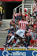 Stoke City defender Glen Johnson jumps for the ball during the Barclays Premier League match between Stoke City and West Bromwich Albion at the Britannia Stadium, Stoke-on-Trent, England on 29 August 2015. Photo by Aaron Lupton.