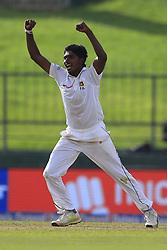 August 12, 2017 - Colombo, Sri Lanka - Sri Lankan cricketer Lakshan Sandakan celebrates the dismissal of Indian cricket captain Virat Kohli(unseen) during the 1st Day's play in the 3rd Test match between Sri Lanka and India at the Pallekele International cricket stadium, Kandy, Sri Lanka on Saturday 12 August 2017. (Credit Image: © Tharaka Basnayaka/NurPhoto via ZUMA Press)