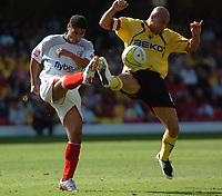 Photo: Tony Oudot.<br /> Watford v Southampton. Coca Cola Championship. 16/09/2007.<br /> Gavin Mahon of Watford with Youssef Safri of Southampton