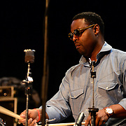 Kendrick Scott during the sound check before performing with the Terence Blanchard Quintet at The Music Hall in Portsmouth, NH. August, 2013.