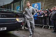 Arsenal defender Shkodran Mustafi (20) arrives off the coach before the Premier League match between Brighton and Hove Albion and Arsenal at the American Express Community Stadium, Brighton and Hove, England on 4 March 2018. Picture by Phil Duncan.