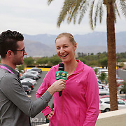 Ekaterina Makarova is interviewed during the WTA All-Access Hour at the Indian Wells Tennis Garden in Indian Wells, California Tuesday, March 11, 2015.<br /> (Photo by Billie Weiss/BNP Paribas Open)