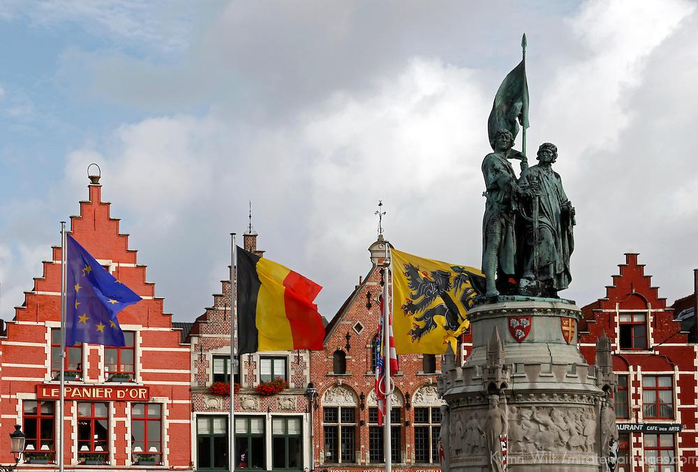 Europe, Belgium, Brugges. Market Square of Brugges.