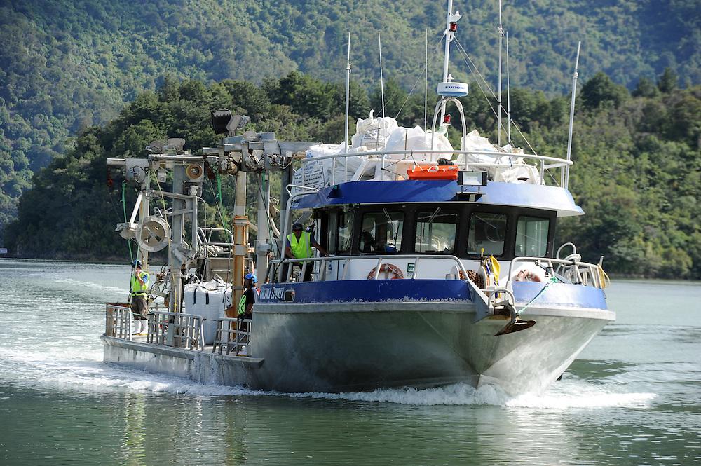 Mussel harvesting boat Okiwi Spirit, wharf, Havelock, New Zealand, Wednesday, January 21, 2015. Credit:SNPA / Ross Setford
