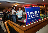 Trump supporters fill the bar at Fratello's for the Trump party during the Presidential debate on Monday evening.  (Karen Bobotas/for the Laconia Daily Sun)