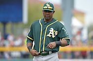 PEORIA, AZ - MARCH 05:  Alejandro De Aza #57 of the Oakland Athletics warms up for the spring training game against the Seattle Mariners at Peoria Stadium on March 5, 2017 in Peoria, Arizona.  (Photo by Jennifer Stewart/Getty Images)