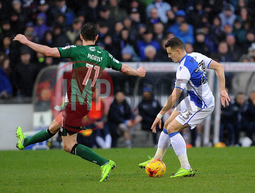 Billy Bodin of Bristol Rovers cuts inside Josh Morris of Scunthorpe United - Mandatory by-line: Neil Brookman/JMP - 25/02/2017 - FOOTBALL - Memorial Stadium - Bristol, England - Bristol Rovers v Scunthorpe United - Sky Bet League One