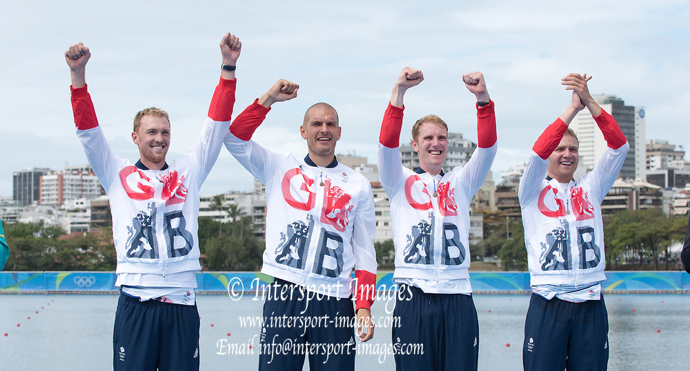 Rio de Janeiro. BRAZIL  Gold Medalist  Men's Four Final. GBR M4-, Bow. Alex GREGORY, No SHIBI, George NASH and Stan LOULOUDIS., 2016 Olympic Rowing Regatta. Lagoa Stadium,<br /> Copacabana,  &ldquo;Olympic Summer Games&rdquo;<br /> Rodrigo de Freitas Lagoon, Lagoa. Local Time 16:53:54  Friday  12/08/2016<br /> [Mandatory Credit; Peter SPURRIER/Intersport Images]