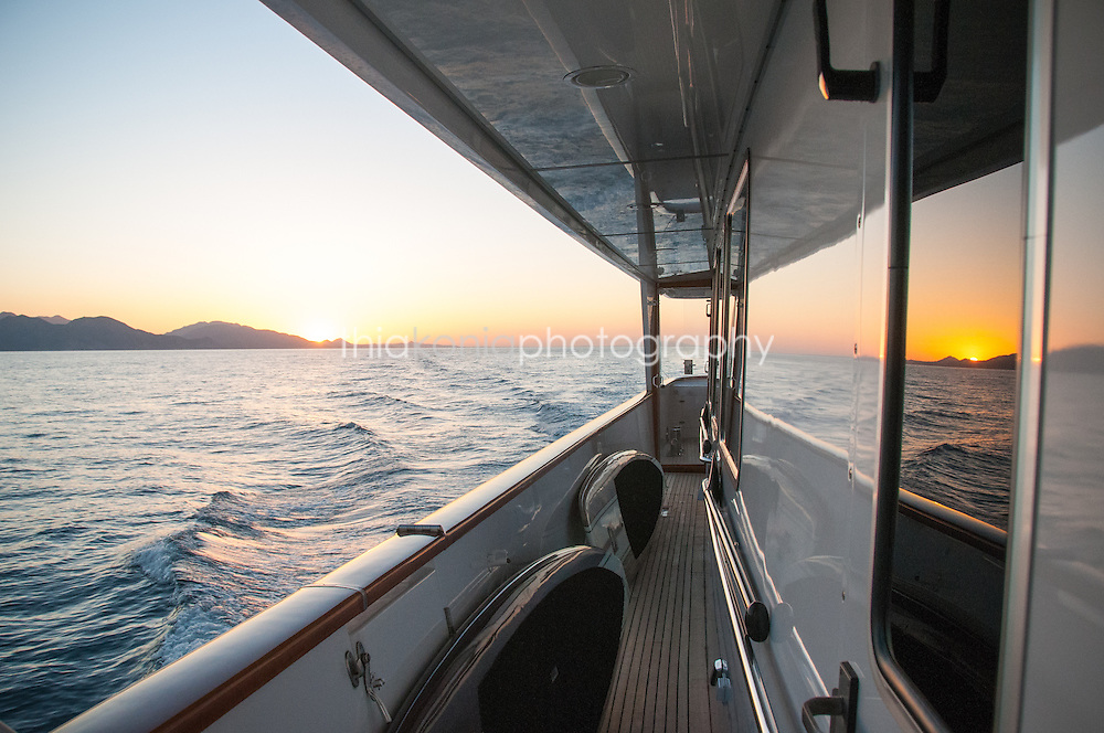 Looking back to the stern of a yacht, Sea of Cortez, Mexico. The Ocean Pearl is a 115ft M/V.