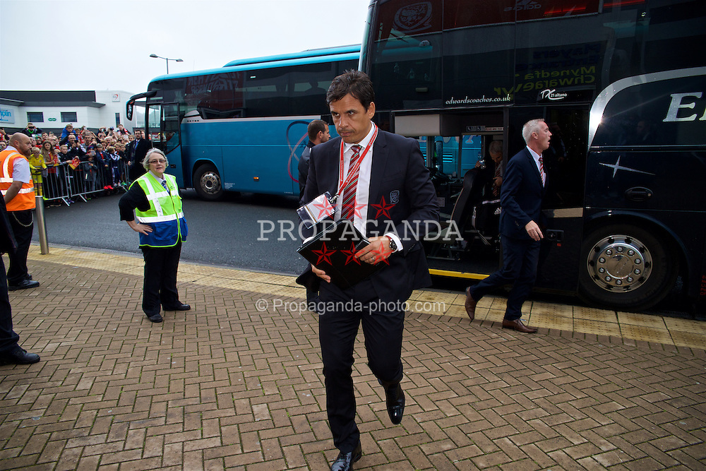 CARDIFF, WALES - Monday, September 5, 2016: Wales' manager Chris Coleman arrives before the 2018 FIFA World Cup Qualifying Group D match against Moldova at the Cardiff City Stadium. (Pic by David Rawcliffe/Propaganda)