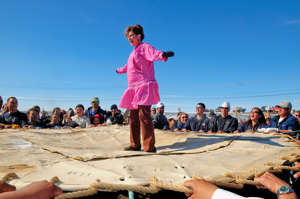 Alaska, Point Barrow. Governor Sarah Palin participates in a traditional Inupiat blanket toss. June 30, 2008.