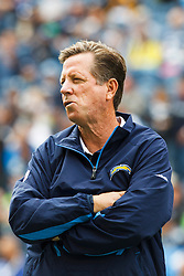 September 26, 2010; Seattle, WA, USA;  San Diego Chargers head coach Norv Turner watches his team during warm ups before the game against the Seattle Seahawks at Qwest Field. Seattle defeated San Diego 27-20.