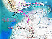 A map of southern South America (Patagonia) marks our 2005 cruise from Ushuaia, Argentina, on the island of Tierra del Fuego, across Drake Passage to Vernadsky Base run by Ukraine in Antarctica. The extent of winter and summer ice is indicated.