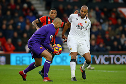 Heurelho Gomes of Watford comes to snatch the ball from Callum Wilson of Bournemouth - Mandatory by-line: Jason Brown/JMP - 21/01/2017 - FOOTBALL - Vitality Stadium - Bournemouth, England - Bournemouth v Watford - Premier League